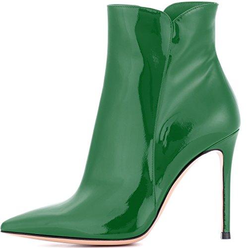 Elashe Dames Enkellaarzen | Laarzen Voor Dames Hakken | 10cm Kn Chelhohe Boots? | Lederen Optiek Schoenen Groen
