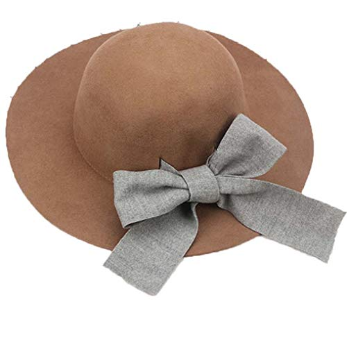 Women's Wool Felt Wide Brim Fedora Hats Classic Vintage Trilby Hat Floppy Bucket Hats with Big Bow Ribbon Camel