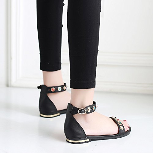 Lentejuelas Cintas Sandalias De Negro Moda Pedrería Planos Universitaria Zapatos Tacones vxngFB