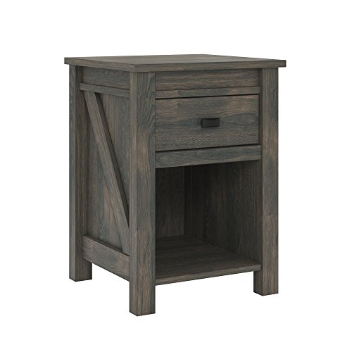 Ameriwood Home Farmington, Nightstand, Weathered Oak (Nightstand Door Glass)