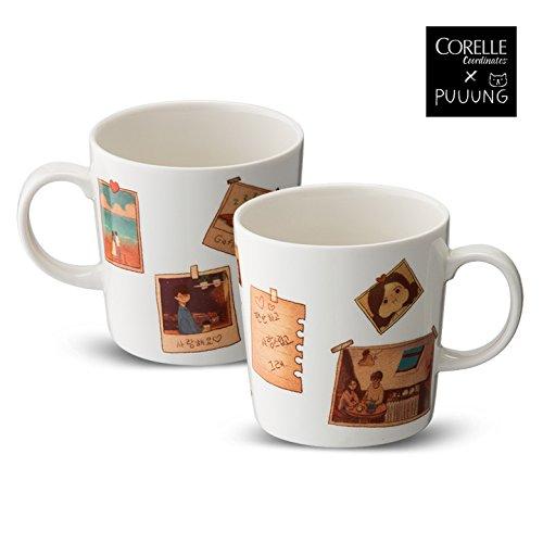 CORELLE Coordinates X PUUUNG Photo Mug Coffee Cup 13.5 oz 2p illustration artistic Mug Cup, Love is Grafolio (Coffee Cup Corelle)