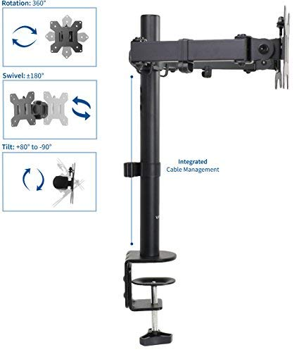 VIVO Dual LCD LED Monitor Desk Mount Stand with C-clamp and Bolt-through Grommet Options | Heavy Duty Fully Adjustable Arms hold Two (2) Screens up to 27'' (STAND-V002) by VIVO (Image #2)