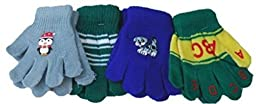 Four Pairs Magic Stretch Gloves for Infants and Toddlers Ages 1-4 Yrs