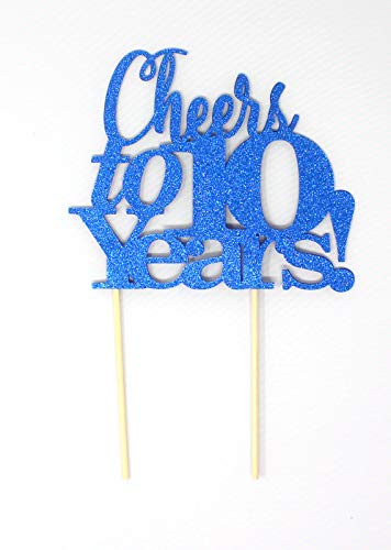 All About Details Cheers to 10 Years! Cake Topper, 1PC, 10th anniversary, retirement (Blue)