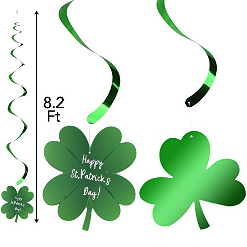 [30 Pcs] St. Patrick's Day Decoration with Irish Saint Patricks Green Shamrock Foil Strings, Hanging Swirls with Garland. St Patricks Ceiling Hanging and Wall Decoration, Great Party Decor for Home School and Office Party