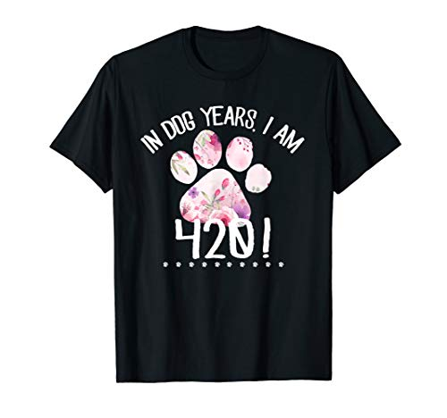 60th Birthday Gift Design Funny 420 Dog Years Old  TShirt