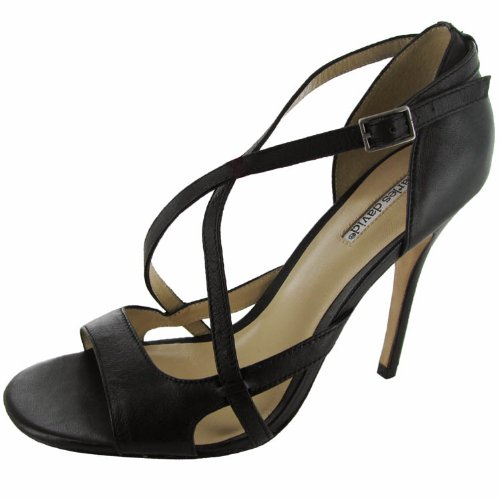 Charles David Womens 'Carmen' Heeled Sandal Shoe, Black Leather, US 10