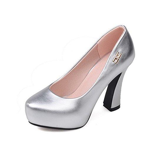 VogueZone009 Damen Rein Weiches Material Hoher Absatz Ziehen auf Pumps Schuhe, Silber, 35