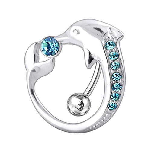Dolphin Navel Ring Body Jewelry - Light Blue Multi Crystal Stone Movable Dolphin Around Navel 925 Sterlingl Silver Belly Ring Body jewelry