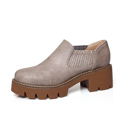 AllhqFashion Damen Mittler Absatz Rein Weiches Material Rund Zehe Pumps Schuhe Grau