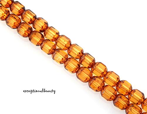 (50 Topaz Gold Tortoise Stone Look Czech Glass 6mm Faceted Tube Cathedral Beads)