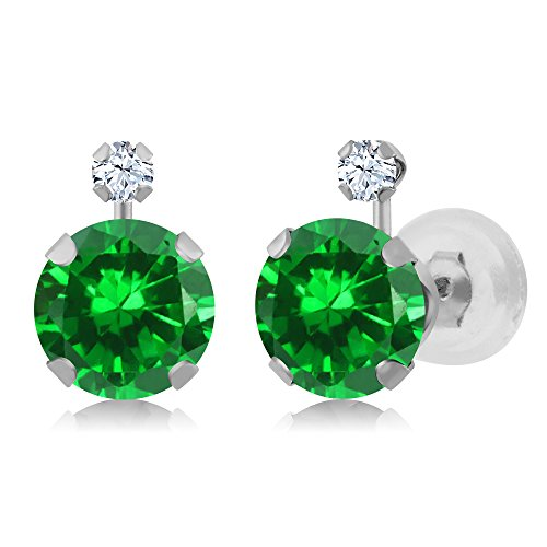 3.08 Ct Green Simulated Emerald White Created Sapphire 14K White Gold Earrings (Fancy Earrings White Sapphire)