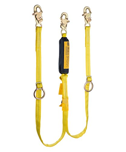 MSA (Mine Safety Appliances) 10073708 MSA Workman Twin Leg Shock-Absorbing Lanyard with LC Harness Connection and Two LC Anchorage Connections, Plastic, 1