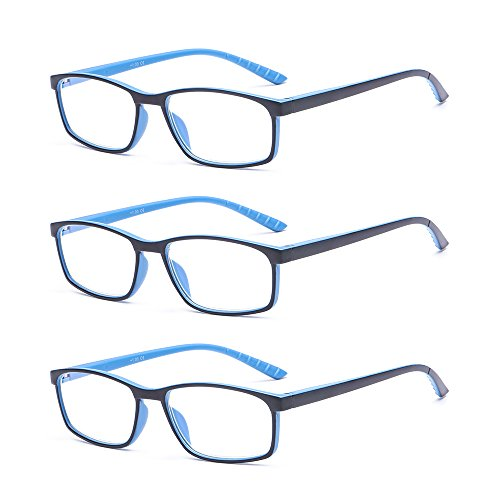 - SUERTREE Anti Blue Reading Glass 3 Pack Yellow Tint Computer Glasses Men Women Comfort Anti Rays Eyewear BM141 (2.5X3PC)