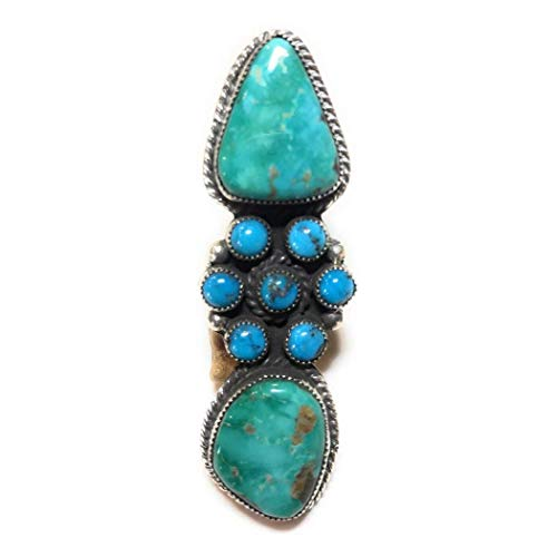 Navajo Bisbee And Kingman Turquoise Sterling Silver Ring Size 8