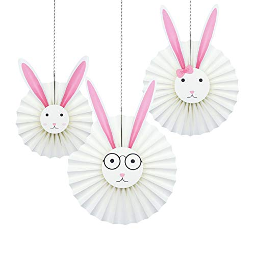 NICROLANDEE DIY Rabbit Hanging Paper Fan Easter Bunny Family Party Ornament Fans for Birthday Party Baby Shower Home Wall Decoration (Fan)