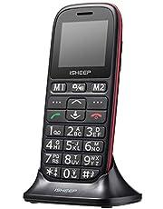 Teléfono móvil con Personas Mayores, Teclas Grandes, Isheep D102 gsm, Pantalla de 1,77 Pulgadas, tecla de Emergencia, cámara, Negro