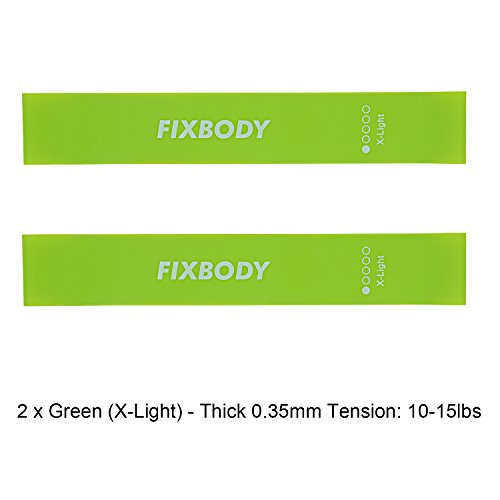 FIXBODY Exercise Loops Resistance Bands for Home Fitness, Stretching, Pilates, Yoga, Rehab, Physical Therapy and More with Instruction Guide (Green - 2 - Resistance X-light
