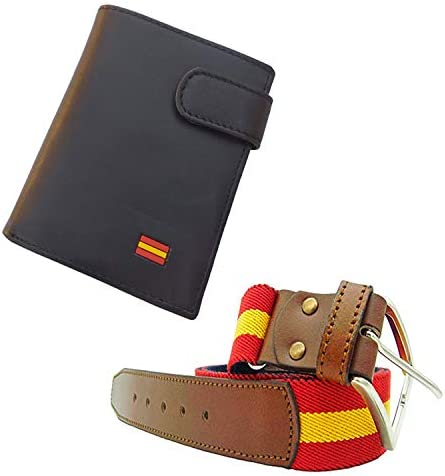 Tiendas LGP - Cartera Billetero Monedero, Bandera de España, Caballero -Piel Autentica de Vacuno, Color Negro + Cinturón Lona y Cuero Extensible, Rojo y Gualda: Amazon.es: Equipaje