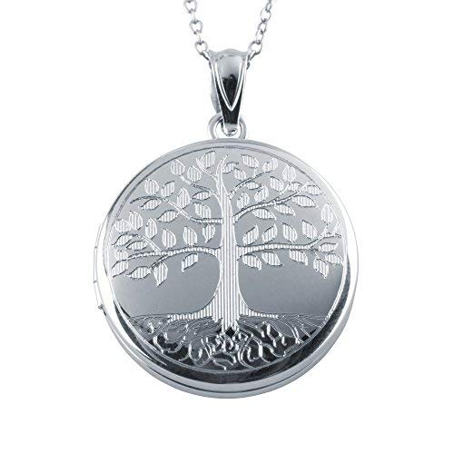 Sterling Silver Round Shape Tree of Life Fashion Locket Pendant with Chain for Women