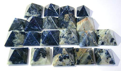 CRYSTALMIRACLE 50 Sodalite Pyramids Big Loose Gemstone Crystal Healing Reiki feng Shui Gift Positive Energy Peace Wellness Health Wealth vaastu Bagua Aura Spiritual Metaphysical Power