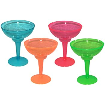 Party Essentials Hard Plastic Two Piece 12-Ounce Margarita Glasses, Assorted Neon, 12 Count