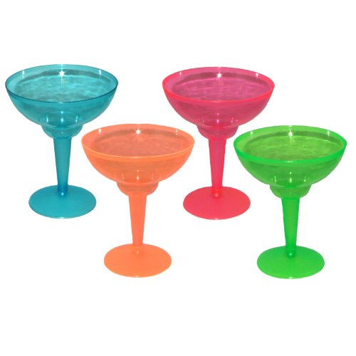 Party Essentials Hard Plastic Two Piece 12-Ounce Margarita Glasses, Assorted Neon, 12 -