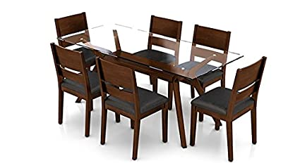 urban ladder wesley six seater rubber wood dining table set dark