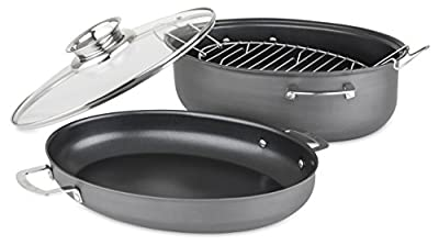 Allrecipes Hard Anodized Nonstick 3-in-1 Oval Roaster with Au Gratin and Aroma Lids, 8.5 Quart, 4 Piece
