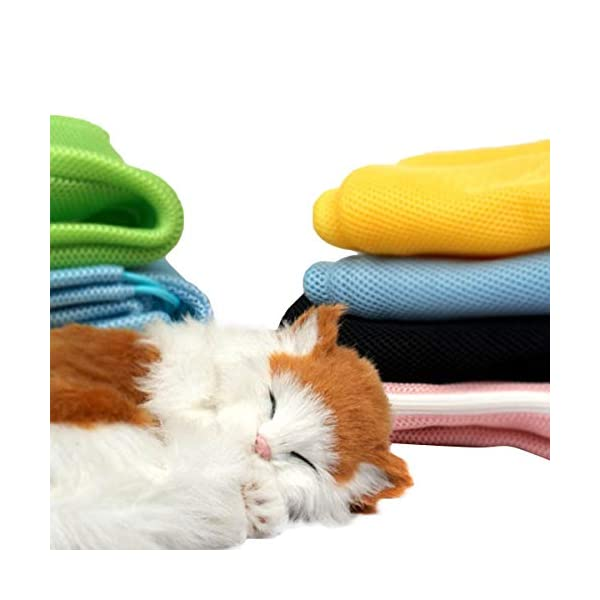 Adorrable Cat Grooming Bag Shower Mesh Bags Restraint for Bathing Injecting Examining Nail Trimming, Blue, 19.3/13.8″ Click on image for further info. 4