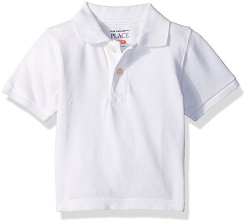 The Children's Place Baby Boys' Short Sleeve Uniform Polo, White 0049, 12-18 Months
