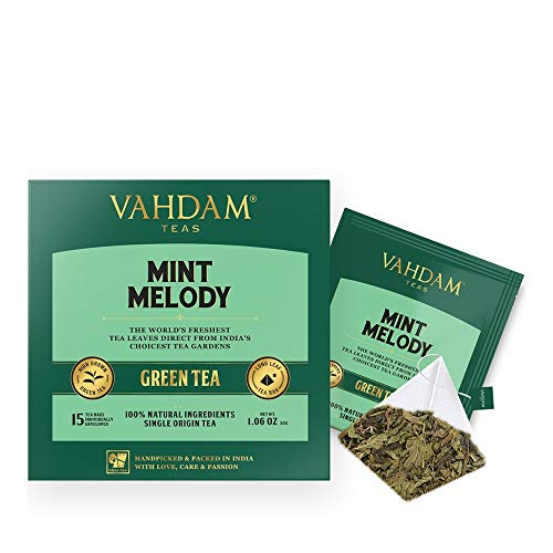 (VAHDAM, Mint Green Tea, (30 Tea Bags) | GARDEN FRESH Mint Green Tea Bags | LONG LEAF GREEN TEA Leaves | 100% NATURAL Spearmint & Peppermint Leaves | 15 Pyramid Mint Tea Bags (Set of 2 Boxes))