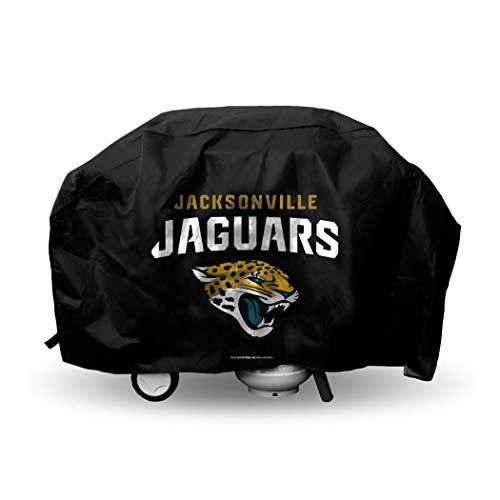 Gold Standard 68 (JA 68 X 35 X 21 Inches NFL Jaguars Grill Cover, Football Themed Weather Resistant Vinyl Gas Barbeque Smoker Protector, Team Logo Fan Merchandise Athletic Team Spirit Fan, Black Gold Teal White)