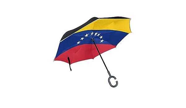 Bandera de Paraguas Reversible Grande de Doble Capa Invertida Bandera de Venezuela Variante Civil precisa Paraguas Plegable para Mujer Paraguas Plegable Reverso Gran protección UV a Prueba de Viento: Amazon.es: Equipaje