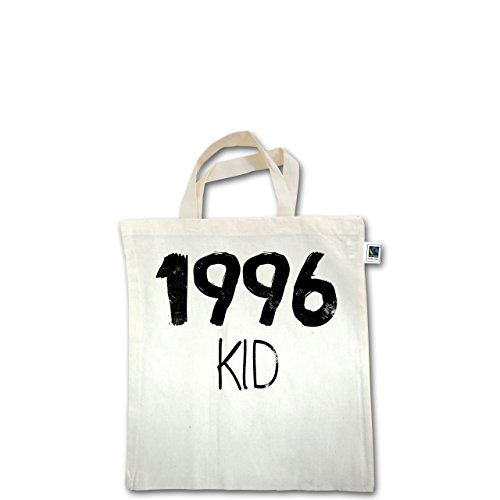 Geburtstag - 1996 KID - Unisize - Natural - XT500 - Fairtrade Henkeltasche / Jutebeutel mit kurzen Henkeln aus Bio-Baumwolle