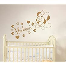 Minnie Mouse Name Wall Decal Vinyl Decals Sticker Custom Name Decals Personalized Baby Girl Name Decor Bedroom Nursery Baby Room Decor x71