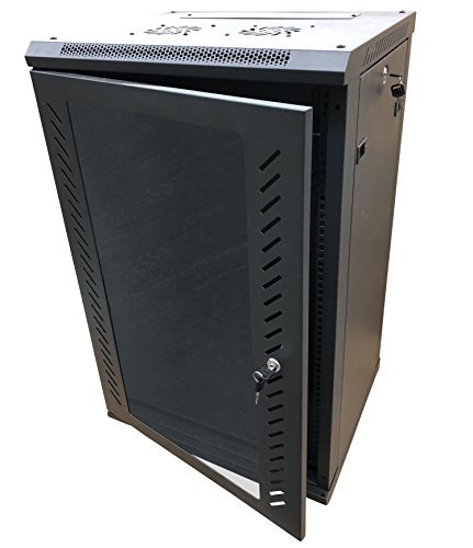 Kenuco 15U Wall Mount Rack Server Cabinet Data Network Enclosure 19-Inch Server Network Rack With Locking Glass Door 16-Inches Deep Black ()
