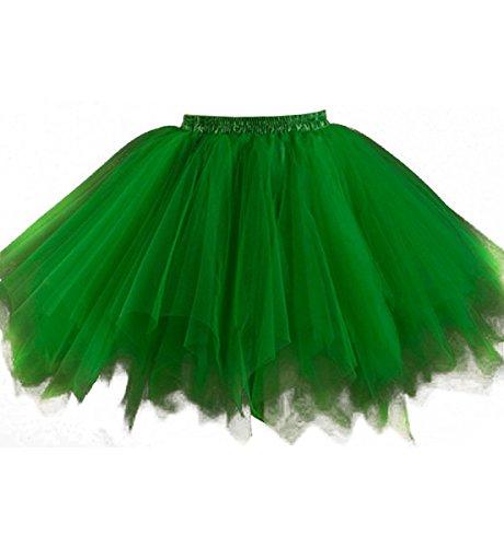 Kileyi Women's Tutu Costume Adult Tulle Skirt Short 1950s Vintage Petticoat Green M (Big Poofy Dresses)