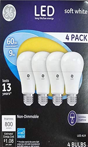 General Electric 61986 4PK WHT 4 Pack 9W Soft White A19 Shape LED Light Bulb (General Electric Led Light Bulbs)