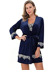 Women Lingerie Set 4 pcs Sexy Lace Trim Sleepwear with Robe Soft Pajamas for Ladies Gift
