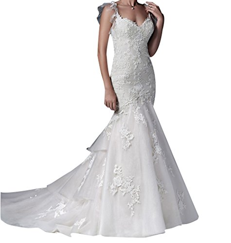 LISA.MOON Women's Sweetheart Long Mermaid Lace Applique Sheer Net Wedding Dress Ivory (Sheer Net Long Gown)