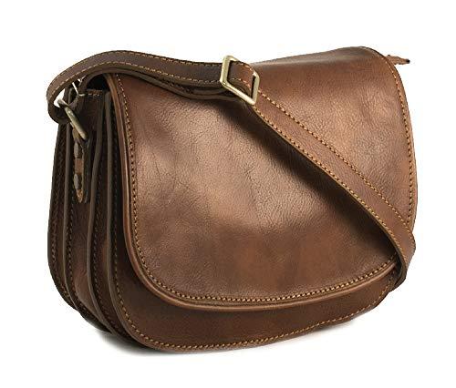 BZNA Firenze väska Jonas Piccola brun axelväska grönsak garvat läder Italien designer kvinnors läder axelväska