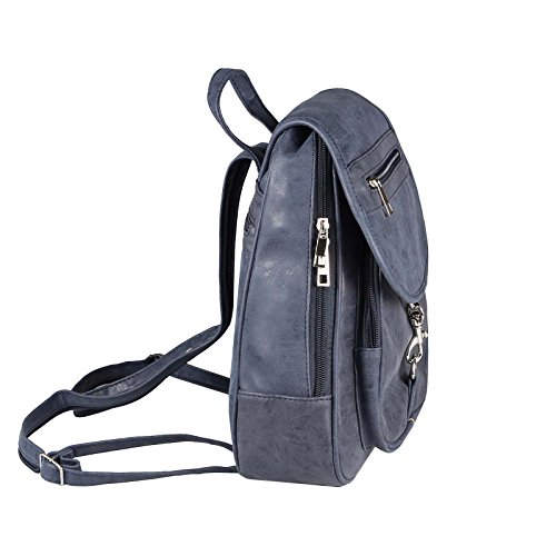 JJ Collection - Bolso mochila  para mujer marrón caqui 26x28x10 cm (BxHxT) Dunkelblau 25x30x10 cm