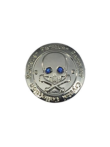 Parsaver Swarovski Crystal Golf Ball Marker - with Hat Belt Clip - Skull and Bones Blue Eyes - Unmatched Brilliance and Sparkle on The Greens. A Wonderful Golf Gift