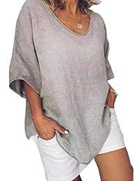 Spokty Womens Jersey de Color Solido de Cuello V Camiseta Top Lino Relajado