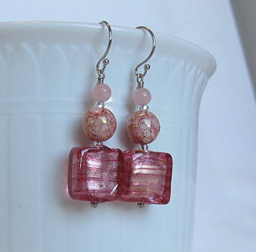 Pink Murano & Czech Opaque Crackled Glass with Pink Jade on Solid 14k WHITE Gold