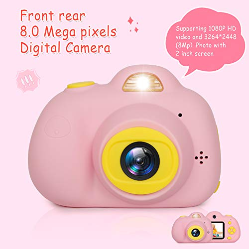 "Kids Camera Gifts for Girls 1080P HD,Mini Rechargeable Children Shockproof Digital Front and Rear Selfie Camera Child Camcorder for 3-9 Year Old Kids Gifts waterproof 2.0"" LCD Screen (Pink) by LeaderPro (Image #1)"