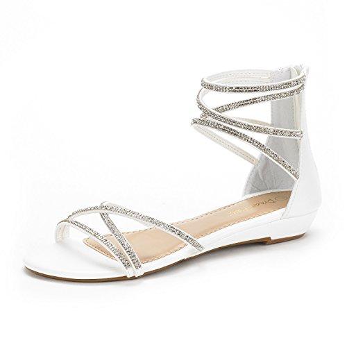DREAM PAIRS WEITZ New Women Open Toe Fashion Rhinestones Crisscross Valcre Ankle Straps Summer Design Flat Sandals WHITE SIZE 8