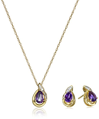 18k White Gold Amethyst Pendant (18K Yellow Gold over Sterling Silver Amethyst Pear with Created White Sapphire Earrings and Pendant Necklace Box Set, 18