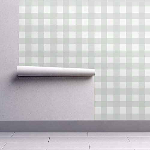 - Gray Green Wallpaper Roll - Gingham Buffalo Check Spa Pillows by Willowlanetextiles - 1 Roll 24in x 27ft